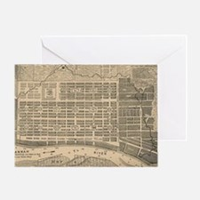Vintage Map of Savannah Georgia (181 Greeting Card