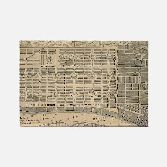 Vintage Map of Savannah Georgia ( Rectangle Magnet