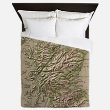 Vintage Physical Map of Scotland (1880 Queen Duvet