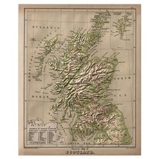Vintage Physical Map of Scotland (1880) Framed Print