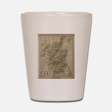 Vintage Physical Map of Scotland (1880) Shot Glass