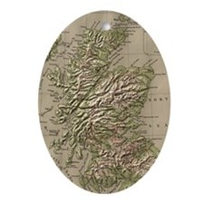 Vintage Physical Map of Scotland (18 Oval Ornament