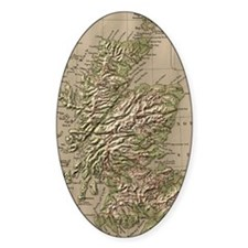 Vintage Physical Map of Scotland (1 Decal