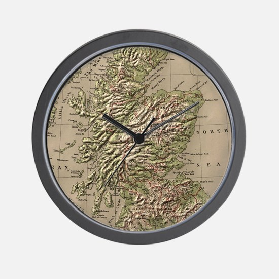 Vintage Physical Map of Scotland (1880) Wall Clock