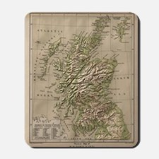 Vintage Physical Map of Scotland (1880) Mousepad
