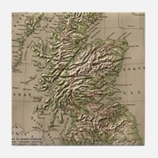 Vintage Physical Map of Scotland (188 Tile Coaster