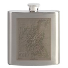 Vintage Physical Map of Scotland (1880) Flask