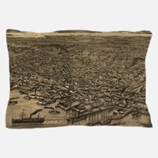 Vintage Pictorial Map of Seattle (1884 Pillow Case