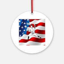 Baseball Player On American Flag Ornament (Round)