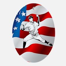 Baseball Player On American Flag Ornament (Oval)