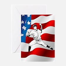 Baseball Player On American Flag Greeting Cards