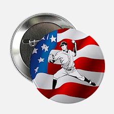 "Baseball Player On American Flag 2.25"" Button (10"