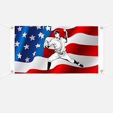 Baseball Player On American Flag Banner