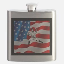 Baseball Player On American Flag Flask