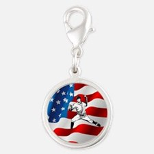 Baseball Player On American Flag Charms