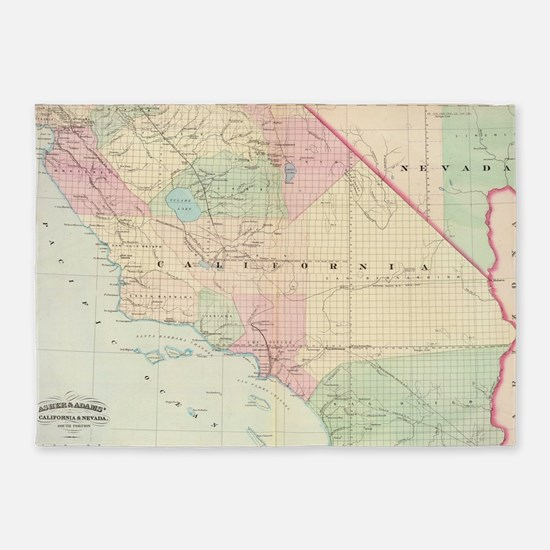 Vintage Map of Southern California  5'x7'Area Rug