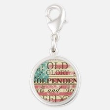 Fourth of July Subway Silver Round Charm