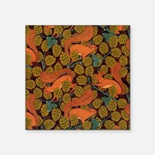 "Vintage Art Deco Squirrel a Square Sticker 3"" x 3"""