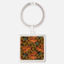 Vintage Art Deco Squirrel and Leav Square Keychain