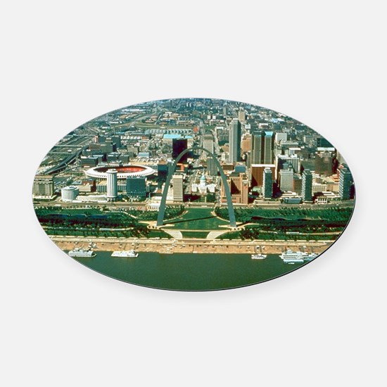 St. Louis Arch and Skyline Oval Car Magnet