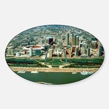 St. Louis Arch and Skyline Sticker (Oval)