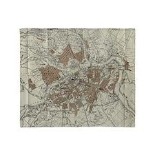 Vintage Map of St Petersburg (1893) Throw Blanket
