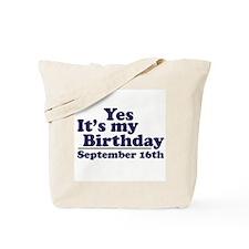 September 16th Birthday Tote Bag