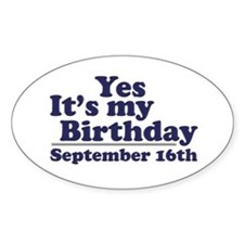 September 16th Birthday Oval Decal
