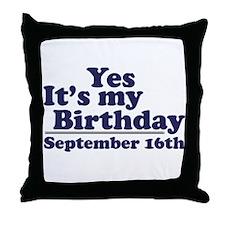 September 16th Birthday Throw Pillow