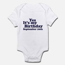 September 16th Birthday Infant Bodysuit