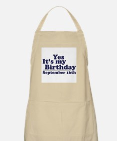 September 16th Birthday BBQ Apron