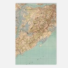 Vintage Map of Staten Isl Postcards (Package of 8)