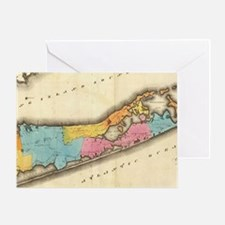 Vintage Map of Suffolk New York (182 Greeting Card