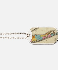 Vintage Map of Suffolk New York (1829) Dog Tags