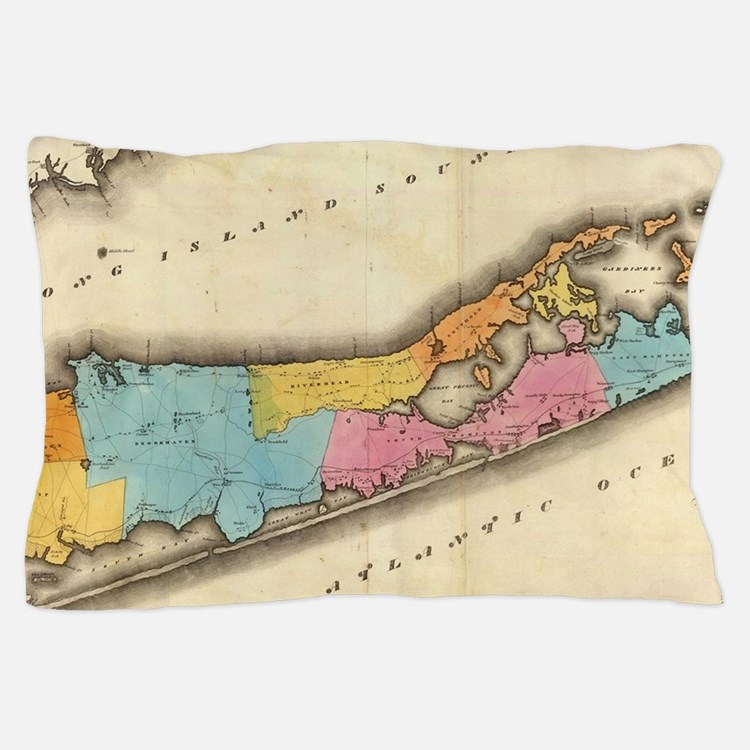 Vintage Map of Suffolk New York (1829) Pillow Case