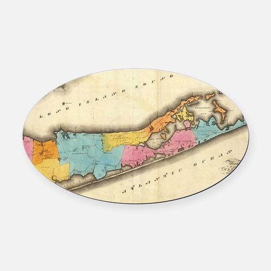 Vintage Map of Suffolk New York (1 Oval Car Magnet