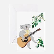 Koala Playing Guitar Greeting Cards