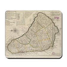 Vintage Map of Barbados (1736) Mousepad