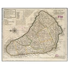 Vintage Map of Barbados (1736) Poster