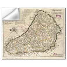 Vintage Map of Barbados (1736) Wall Decal