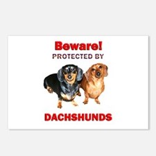 Beware Dachshunds Dogs Postcards (Package of 8)