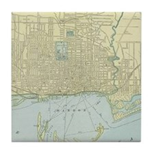 Vintage Map of Toronto (1901) Tile Coaster
