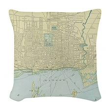 Vintage Map of Toronto (1901) Woven Throw Pillow