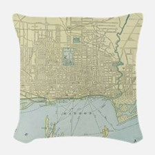 Vintage Map of Toronto (1901) Woven Throw Pillow