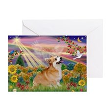Autumn Angel Corgi Greeting Card