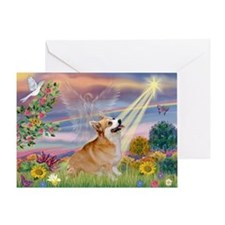 Cloud Angel Welsh Corgi Greeting Card