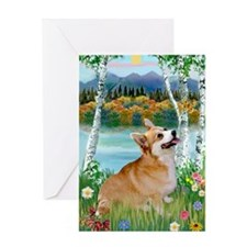 Birch Country & Welsh Corgi Greeting Card