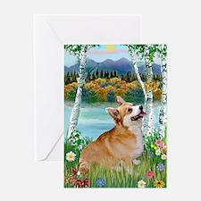 Birch Country & Welsh Corgi Greeting Card