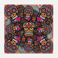 Crazy Sugar Skulls Tile Coaster