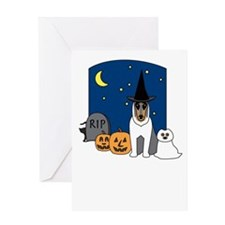 Collie Howling Halloween Greeting Card